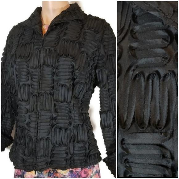 Samuel Dong solid black ribbon box jacket L